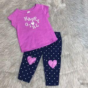 Carter's Matching Sets - Happy Girl shirt and pant heart set